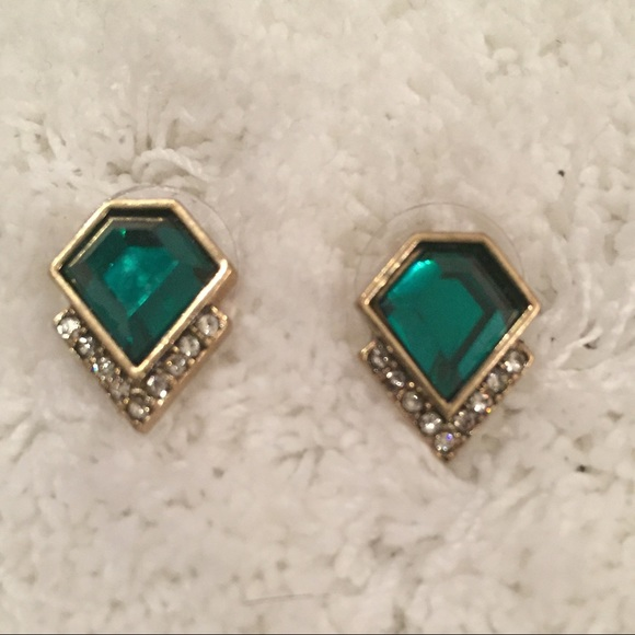 Classically Chic Boutique Jewelry - Emerald Pavé Rhinestone Stud Earring